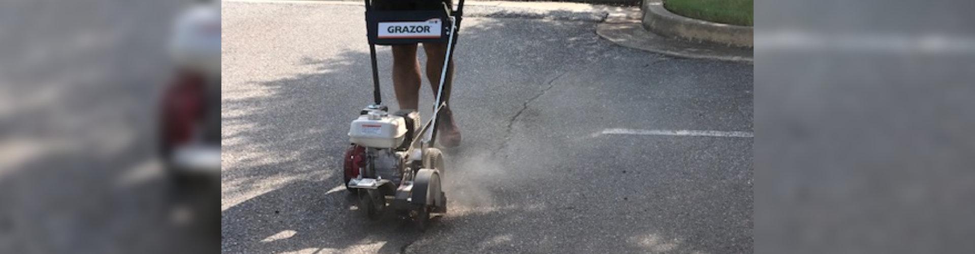 worker sealing a crack